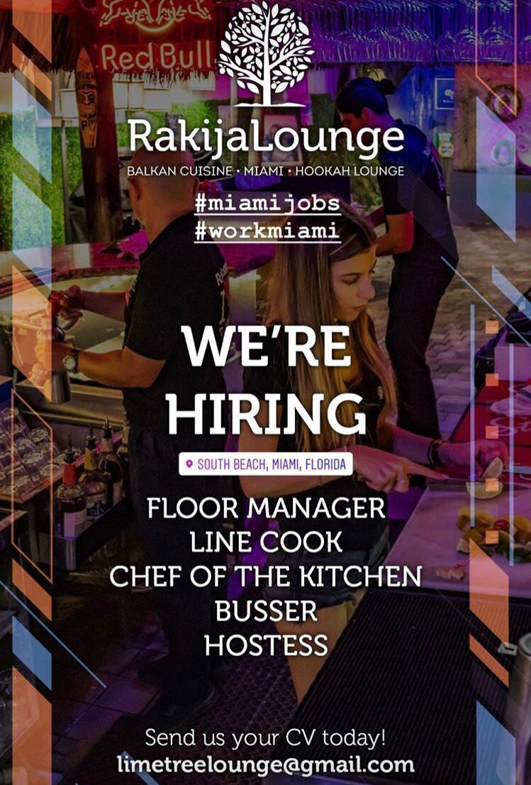 Rakija Lounge Miami Beach traži radnike!