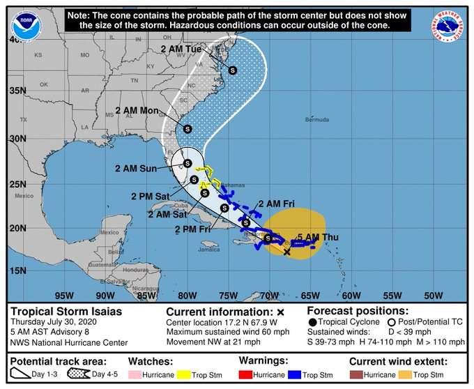 Tropska oluja Isaias stiže na obale Floride ovog vikenda