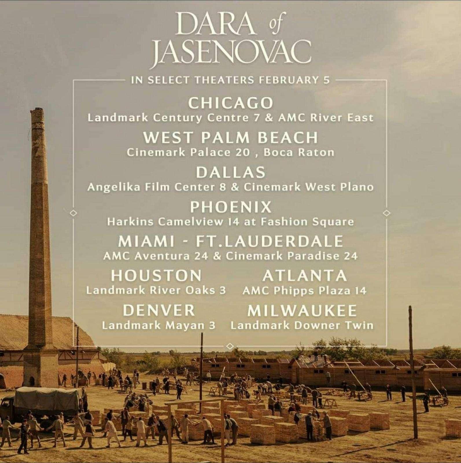"""Premijera filma """"Dara iz Jasenovca"""" u Majamiju 5. februara! (Link za kupovinu karata)"""