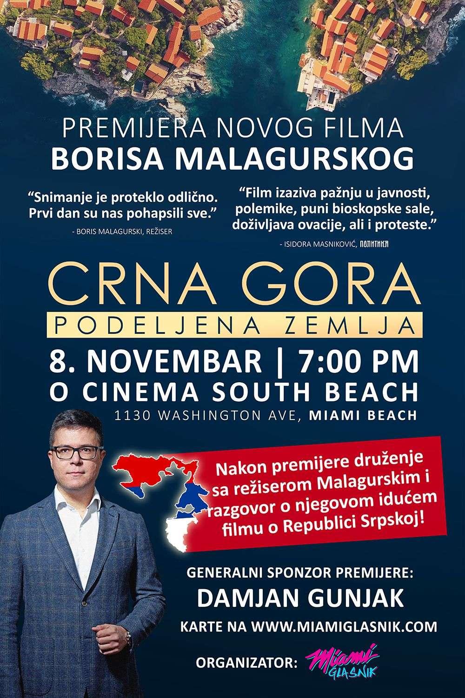 """Premijera filma """"Crna Gora: Podeljena zemlja"""", Borisa Malagurskog u Majamiju 8. novembra!"""